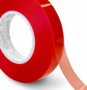 50 Metre Transparent Double Sided Polyester Tape with Red MOPP Liner