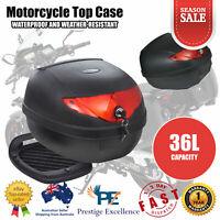 36L Motorcycle Motorbike Helmet Rear Top Box Luggage Storage Case Lockable Black