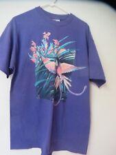 Women's T Shirt Purple Humming Bird & Flower Short Sleeve Hanes Beefy T Large