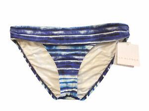 14 La Blanca BLUE Serene Stripe Shirred-Side Hipster Bikini Swim Bottom NWT