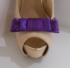 2 Purple Triple Bow Clips for Shoes with Filigree Edge
