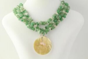 New Beaded Necklace - Sterling Silver Green Pink Mother of Pearl Pendant Chunky