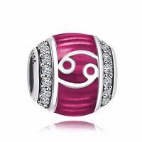 Cancer Logo Design Silver Charm Diy Zircon Bead Fit 925 Sterling Bracelet Chain