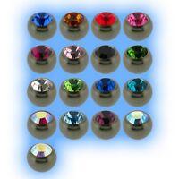 Titanium Jewelled Ball 1.6mm 14g Choose Gem Colour Size 3mm 4mm 5mm 6mm