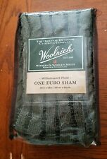 Woolrich Williamsport Plaid Euro Pillow Sham Gray with Black 26x26 New in Bag