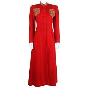 c1939 Schiaparelli Attributes Chas A Stevens Red Wool Princess Evening Coat XS S