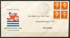 FDC E-12 WATERSNOOD 1953 MET BLOK VAN 4 - GETYPT ADRES/GESLOTEN KLEP       DR137