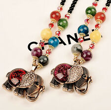 "Gorgeous beaded elephant necklace - sweater length - long - 18"""