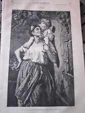 L'Enfant ( Un Baiser pour une Grappe ) 1878 Gravure Article de presse