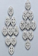"3.5"" Long Clear Silver WHite Austrian Crystal Wedding Drop Bridal Earrings"