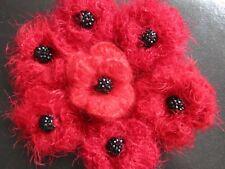 Poppy Brooch Red Crochet New