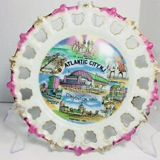 ATLANTIC CITY Souvenir Plate Reticulated Edge Elephant Motel Steel Pier Japan