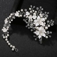 Wedding Women Bride Flower Headband Floral Pearl Jewelry Hair Band Decoration