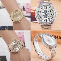 Women's Luxury Rhinestone Crystals Wristwatch Stainless Steel Quartz Round Watch