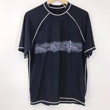 Speedo Mens Short Sleeve UV UPF 50+ Swim Shirt Rash Guard Black Wave Design Sz M