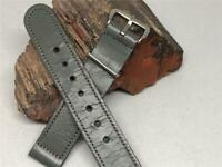 "VINTAGE MANS LEATHER WATCH BAND GRAY 16MM WHITE BUCKLE 6 1/4"" LONG STITCHED"