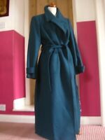 NEW RRP£199 Ladies WINDSMOOR teal wool TRENCH COAT UK 20 18 military duster belt