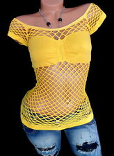 Damenshirt Netzshirt Bustier Carmen Shirt Party Club Netz Top Gelb S M  36 38
