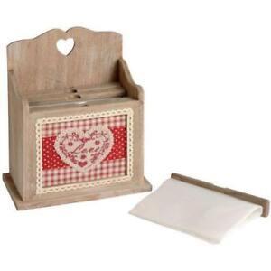 Photo Storage Box Wooden Shabby Chic Heart Design FREE POSTAGE