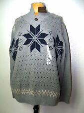 NEW Mens XL WEATHERPROOF Brand Original Sweater Snowflake Has Leather Button