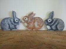 3  Hand Painted Wooden Bunny Rabbits Shelf Decor