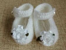 Handmade baby booties shoes bnwt white 0-3 months christening, baby shower gift