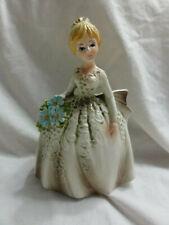 Vintage Girl/Lady Planter Vase Blue Flower White Cream Dress Caffco JAPAN E-3146