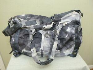 LULULEMON Large Gray Tie Dye Yoga Fitness Dance Crossbody Baby Duffle Bag Purse
