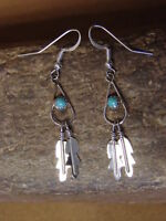 Zuni Indian Jewelry Sterling Silver Turquoise Double Feather Earrings - A. Quam
