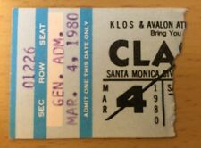1980 The Clash Santa Monica Concert Ticket Stub Joe Strummer London Calling