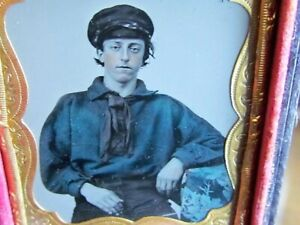 hand colored sailor ambrotype photograph