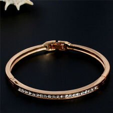 Hot Women Lady Gold-plated Stainless Steel Cuff Bangle Jewelry Crystal Bracelet