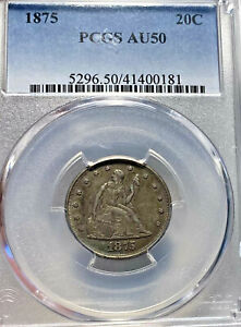 1875 Seated Liberty Twenty Cent Piece 20C PCGS AU 50