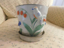 Lovely Vtg Raised Bird Leaves Flowers Ceramic planter Japan Blue Green Orange