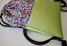 Handmade Backpack, Glitter & Fabric, Colorful Hearts, Gym Bag, Green-Coloured