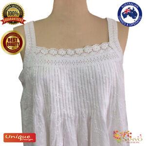 BNWT 100% Cotton Nightie New White Ladies Sleepwear Nightdress Premium Quality