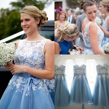 Tea Length Lace Bridesmaid Dresses Wedding Cocktail Evening Party Ball Prom Gown