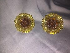 "Amber Depression Glass drawer pull knob 2 7/8 "" beaded flower with hardware"