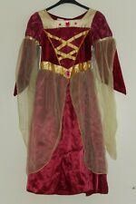RED AND GOLD CHRISTMAS PRINCESS BELLE DRESS, 4 - 7 YEARS