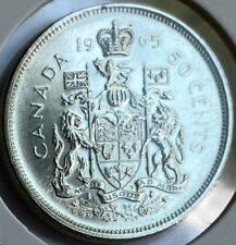 1965 Canadian 50 Cent Coin 80% Silver 11.66g Fine (AA105) Canada Currency