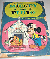 1963 WALT DISNEY'S Vintage MICKEY AND PLUTO Partially Colored COLORING BOOK