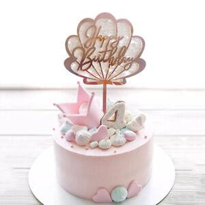 Acrylic Shell Shape Kids Happy Birthday Cake Topper Cupcake Dessert Party Decor