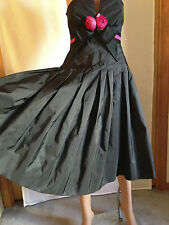 VICTOR COSTA VINTAGE BLACK PINK ROSE STRAPLESS FORMAL DRESS BALL GOWN 4 S NEW