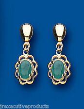 Emerald Pendientes Oro Amarillo Esmeralda Natural Fantasía Con Borde Dorado