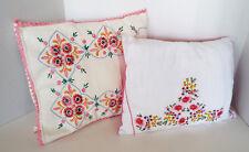 VINTAGE THROW PILLOWS 16 x 11.5 Embroidery Crocheted Pillowcase 15x12 Needlework