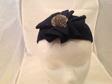 Vintage Ladies Hat 94% Wool Poppy Hats New York Dark Blew Pleated Front FLower