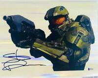 Steve Downes signed Master Chief  11X14 holofoil photo HALO BAS COA M62257