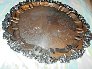 """EG Webster & Son EGW&S Serving Tray Rococo, 21""""diameter 7.5 pounds C. 1890's"""