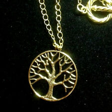 """Tree of Life Gold Plated Chain Pewter Pendant Necklace 18"""" handmade Trees Nature"""