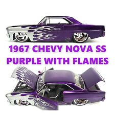 JADA 1967 CHEVY NOVA SS PURPLE WITH FLAMES 90058 1/24 BIGTIME MUSCLE  ** VHTF **
